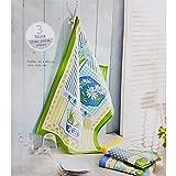 Küchen-Frottiertücher 3er Set 65 x 44 cm aus 100% Baumwolle 3x Küchen-Tuch Reinigungs-Tuch drei schöne Farben / Muster