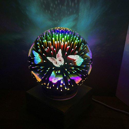 Lumière de nuit magique de feux d'artifice en verre de 3D LED,lumière de décoration de chambre à coucher de LED, lumière de nuit,cadeau parfait pour des enfants adultes de bébé -10 modèles(Papillon)
