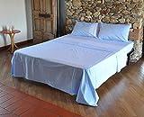 Bassetti Dream Bloth - Sábanas de Matrimonio de 2 plazas, Color Azul, de Puro algodón por Encima + por Debajo + 2 Fundas de Almohada