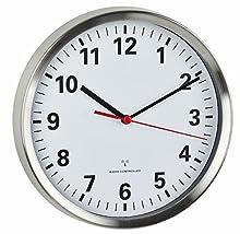 TFA Dostmann - Orologio da Parete radiocontrollato con meccanismo Silenzioso Sweep, in Alluminio e Vetro, 220 x 45 x 220 mm, Colore: Bianco