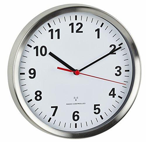 TFA Dostmann Funkwanduhr, mit geräuscharmen Sweep Uhrwerk, Glas, leise, analoge Wanduhr, edelstahl/weiß, 60.3529.02