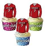 vorgeschnittenen personalisierbar Essbar Fußball Shirts mit gewählter Name & Nummer–Cupcake Topper/Kuchen Dekorationen Swindon Farben (12Stück)