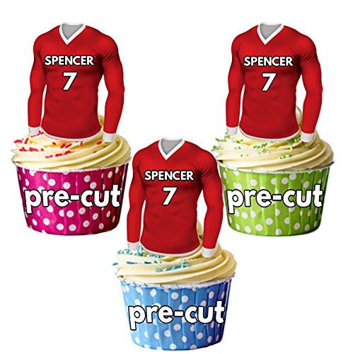 vorgeschnittenen personalisierbar Essbar Fußball Shirts mit gewählter Name & Nummer-Cupcake Topper/Kuchen Dekorationen Swindon Farben (12Stück)
