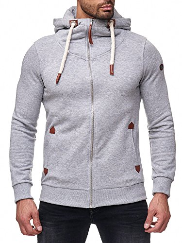 Red Bridge Herren Sweatjacke Basic Sweat Pullover Kapuzen-Sweater dicke Kordel M2143 Grau