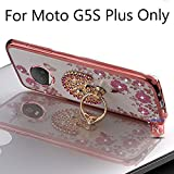 #8: KC Peacock Ring Stand Case with Diamond Crystals Printed Flowers, Soft Transparent Back cover for Moto G5S Plus - Rose Gold + Pink