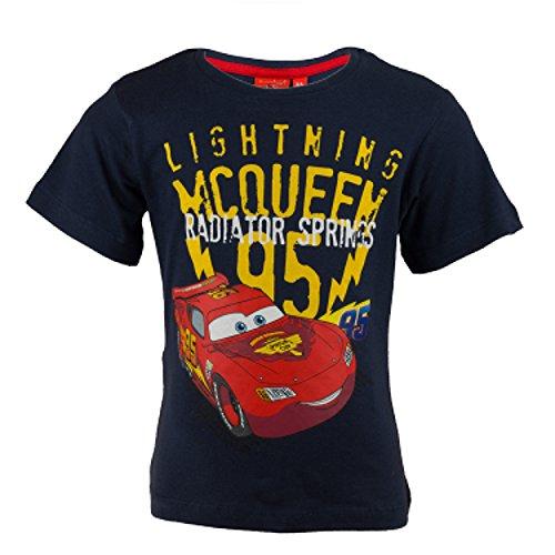 -Shirt aus Jersey Baumwolle, Rennwagen Lightning McQueen Kurzarm Shirt für Jungen - Tshirt Farbe: Dunkelblau, Gr. 94 (Disney Kinder Outfits)