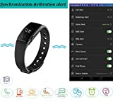 YAMAY® HR Fitness Activity Tracker Heart Rate Monitor,Smart Bracelet Fitness Wristband Pedometer with Step Tracker/Calorie Counter/Sleep Tracker Call Notification Push for iPhone iOS and Android Phone
