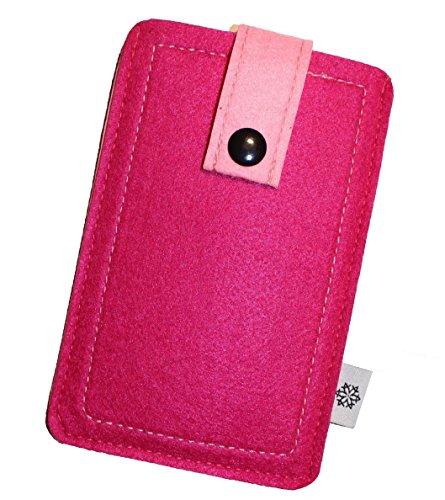 Filz-Tasche in Pink für Apple Iphone 5 und 5S mit Hülle, Hochwertige Handy-Hülle, Schutz-Cover mit Herausziehband und Drucknopf, reißfestes Schutz-Etui - S Dealbude24
