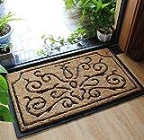 Liveinu Kokosfaser Schmutzfangmatte Fußmatte Türvorleger Sauberlaufmatte Fußabstreifer Barock für Haustür Innen und Außen 45x75cm Stil 5