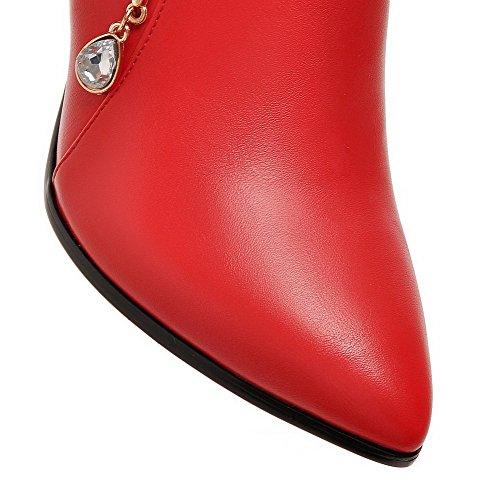 VogueZone009 Donna Alla Caviglia Puro Punta Chiusa Scarpe A Punta Tacco A Spillo Stivali Rosso