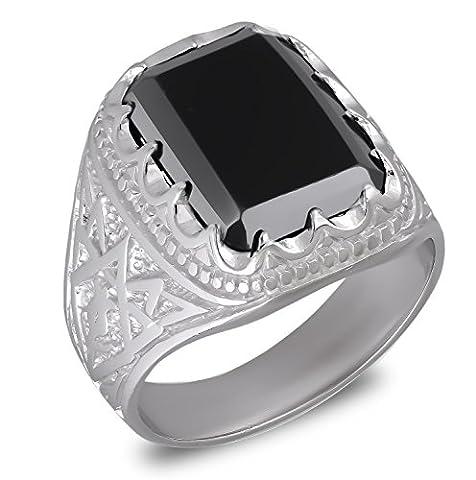 Aden's Jewels-Ring-Man-Biker-Rhodium Silber 10,3 Gr-Mann-Farbe schwarz Onyx