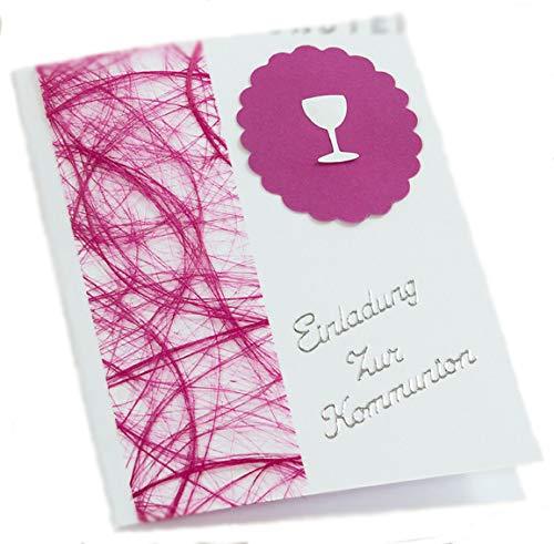 10 x Einladung Einladungskarte Kommunion Konfirmation Einladungen KK018 in verschiedenen Farben (pink)