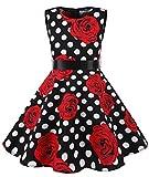 MUADRESS MUA6003 Mädchen Vintage Kleid Babykleider Polka Festlich 50er Kleid Schwarz Weiß Rose S