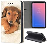 Samsung Galaxy A3 2016 Hülle Smart Flipcover Schutzhülle Case Handyhülle für Samsung Galaxy A3 2016 (1329 Dackel Welpe Hund Hundebaby Tier)