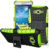 Samsung Galaxy Grand Prime Funda, FoneExpert® Heavy Duty silicona híbrida con soporte Cáscara de Cubierta Protectora de Doble Capa Funda Caso para Samsung Galaxy Grand Prime SM-G530 G530H G530FZ + Protector Pantalla (Green)