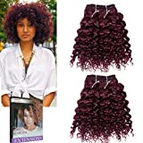 Emmet Kurze lockige Haarverlängerung 8Inch Einfache Installation u. Nähen Ombre Farben Brasilianisches Menschenhaar kann gefärbt werden und befreit Afro Kinky Weave 2Bundles / Los 50g / Bundle(99J#)