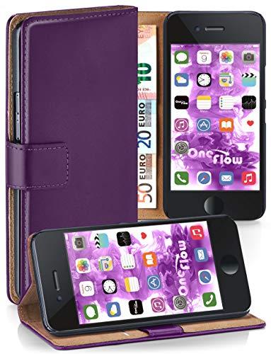 moex iPhone 6S | Hülle Lila mit Karten-Fach 360° Book Klapp-Hülle Handytasche Kunst-Leder Handyhülle für iPhone 6/6S Case Flip Cover Schutzhülle Tasche