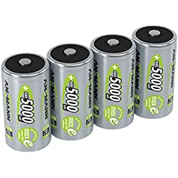 ANSMANN piles rechargeables D, 1,2 V / Type 5000mAh / HR20 / Accumulateur NiMH de grande capacité avec une puissance de sortie constante et une longévité élevée - idéal pour les appareils à forte consommation d'énergie, 4 unités