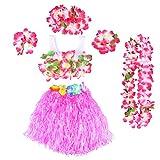 BESTOYARD 6Pcs Kinder Mädchen Hula Gras Rock mit Blumen Hawaiian Luau Kostüm (Rosa)