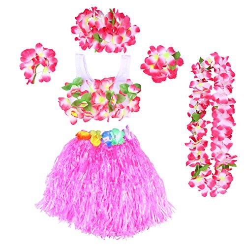 BESTOYARD Hawaii Kostüme Tropical Hula Gras Rock BH Blume Armbänder Stirnband Halskette 6 Stück (Rosa)