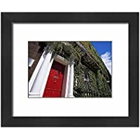 Framed 10x8 Print of Red door and ivy covered building, St (1186681)