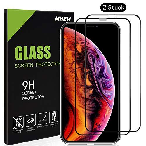 Whew Panzerglasfolie Schutzfolie Kompatibel iPhone X/iPhone XS/iPhone 10, [2 Stück] 9H Härte Full Screen HD displayschutz, Anti-Kratz, Keine Luftblasen, 3D Touch Kompatibel Panzerglasfolie