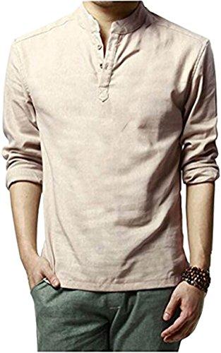 HOEREV Marke Men Casual Langarm-Leinen Shirts Strand-Hemden
