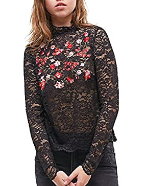 Simplee Apparel Women's Long Sleeve Stand Collar Embroidered Lace Blouse Hollow out Shirt Crochet Top Black