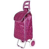FUNKY ZEBRA STRIPE DESIGN PRINT FOLDING 2 WHEEL SHOPPING TROLLEY LUGGAGE BAG (Black/Pink)