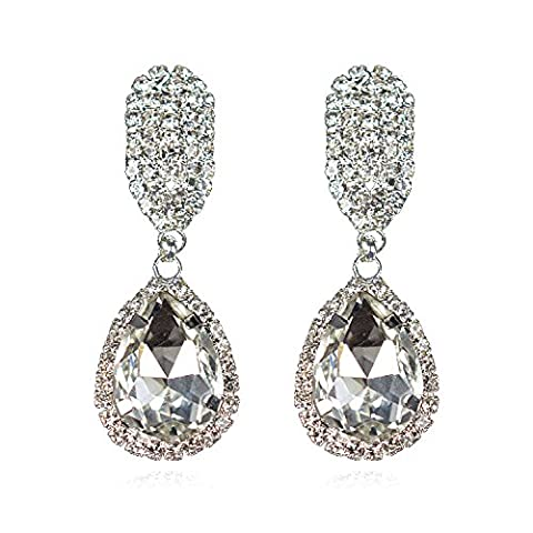 Clear Water Drop Zircon Crystal & Silver Drop Statement Stud Earrings For Pierced Ears