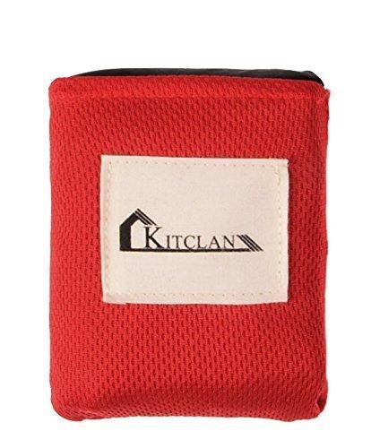 Pocket Picknickdecke, Kitclan Compact Strandmatte für Outdoor Picknick, Reisen, Camping und Wandern, Polyester-Gewebe Leichte Outdoor Strand Decke (110cm * 150cm, Schwarz)