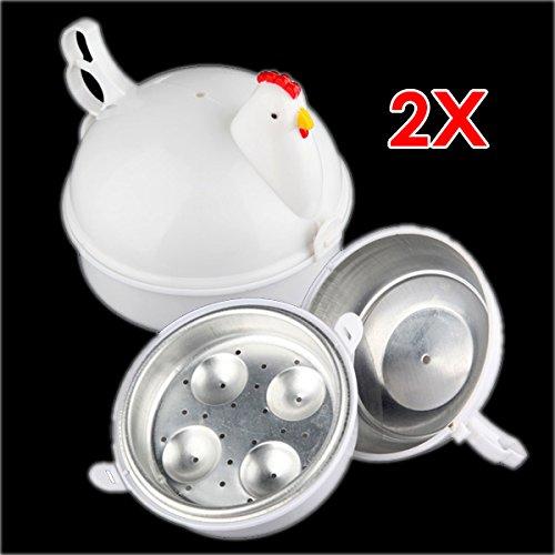 Sonline Plastico Pollo Microondas Caldera 4 Huevo cazador furtivo del vapor de la caldera Herramienta Cocina Cocina