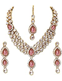 Aradhya Gold Plated Kundan Necklace Set With Earrings For Women & Girls (Maroon)