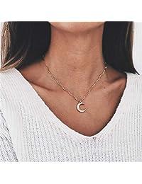 e41b84f939fc GMZTT Pendientes De Gama Alta Collar de Temperamento Media Luna Colgante  Collar para Las Mujeres Rhinestone Oro Choker Regalos de…