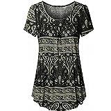 VJGOAL Damen T-Shirt, Damen Mode Scoop Neck Plissee Große Code Kurzarm Sommer Bluse Top Tunika T-Shirt (XXL, Schwarz)