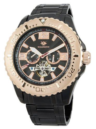 Wellington Cork WN301-622B - Reloj analógico automático para hombre, correa de acero inoxidable chapado color negro
