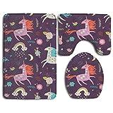 Traci Kroll Juegos de alfombras de baño Antideslizantes Unicornio Alfombras de baño Tapa de la Alfombra Tapa del Inodoro