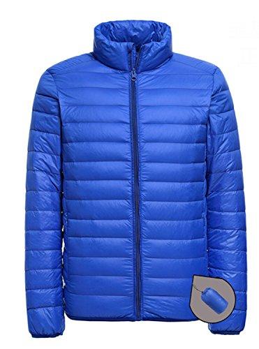 Homme Ultra Légère Courte Doudoune Printemps ou Automne Zippée Manches Longues Veste Manteau Compressible Blouson Cou