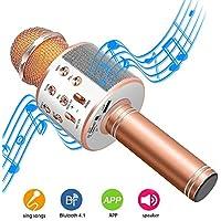 DAMIGRAM Microfono Wireless Karaoke Bluetooth Microfono con Altoparlante