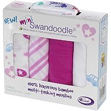 Conjunto de 4 de bambú pañales de muselina Cuski bio - Mini Swandoodles - 4 Chicas - Bastante Corazón