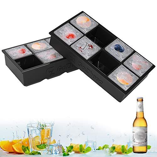 Eiswürfelformen Silikon XXL Eiswürfel Form Eiswürfelbehälter 2er Pack Eiswürfelbereiter 5 cm Große Eiskugeln Runde Eiskugelformer Ice Tray Ice Cube für Bier Cocktails Whisky