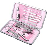 Five Season 12pcs Stainless Steel Manicure Pedicure Set Nail Scissors Nail Clippers Kit With Pink Case