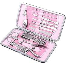 12pcs del acero inoxidable de manicura pedicura Clippers tijeras de uñas de uñas kit con la caja rosada