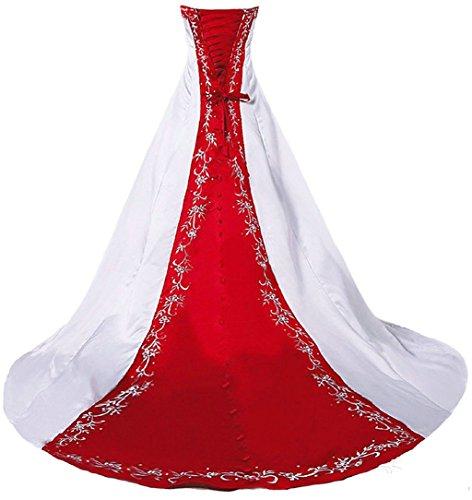Vantexi Damen Trägerloses Stickerei Brautkleid Hochzeitskleider Weiß Rot 46