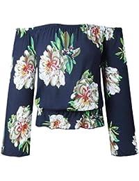 Shirt Mujer Elegantes Manga Larga Barco Cuello Off Shoulder Blusa De Carmen Vintage Túnica Casuales Moda Camisas Floreadas Blusa…