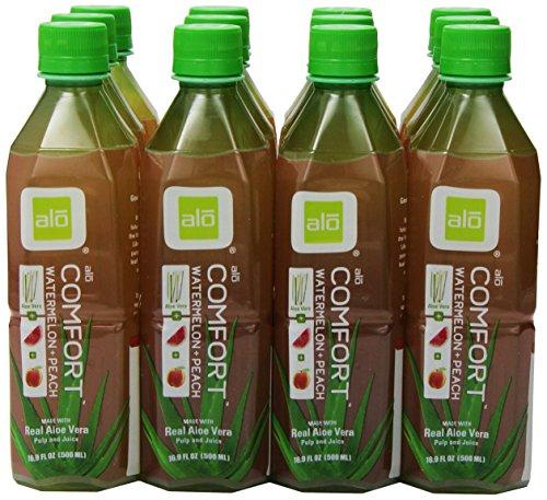 Alo Drink Comfort, Pet-Flaschen, Aloe Vera, Wassermelone und Pfirsich mit Aloe-Stückchen, 12er Pack, EINWEG (12 x 500 ml) -