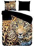 Pure 4835-M bettwäsche mit Leopard, 200 x 135 x 0,5 cm, schwarz