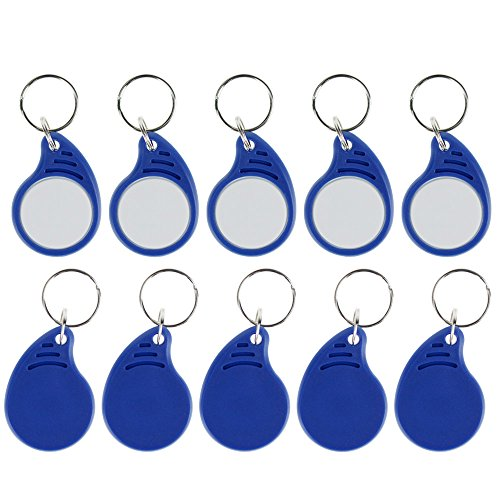 HFeng RFID 13.56MHz Keyfobs ISO14443A MF Classic 1k Key tags IC Keychains NFC Proximity token tag for smart Door Access Control System 12# (20) Proximity Access Control System