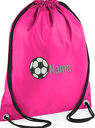 PERSONALISED EMBROIDERED CUSTOM FOOTBALL GYM BAG Sports PE Dance swim  pink
