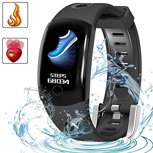 LUXSURE Fitness Smart Trackers IP68 Wasserdicht Fitnessarmband Aktivitätstracker mit Herzfrequenzmessung für IOS Android Handy, Schwarz